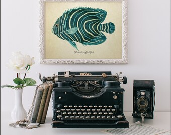 Botanical Print, Tropical Fish Print, Koran Angelfish Print, Vintage Natural History Art, Nautical Art, Angelfish Print Reproduction SL006
