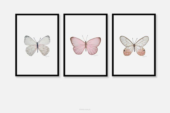 Butterfly Wall Art Print Pencil Drawing