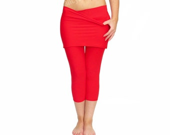 Skirted Yoga Pants, Skirted Leggings, Red Yoga Tights, Leggings with Skirt, Red yoga skirt, Comfy Yoga Pants, Crop Leggings