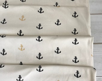 Organic KNIT~ Little Anchor in Metallic KNIT~ Inkwell Collection ~ Birch Organic Fabrics