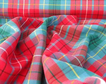 British Columbia Tartan Fabric,  Teal Green Blue Plaid Fabric, British Columbia Tartan By Yard, British Columbia Tartan Suiting Fabric
