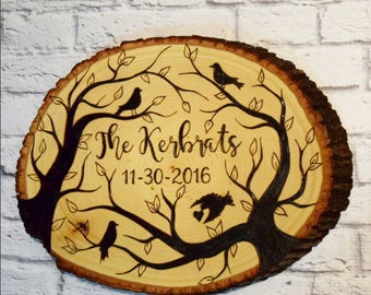 Custom Rustic Wedding Gift - Wood Burned Wedding Gift - Boho Wedding Gift - Personalized Housewarming Gift - Personalized Welcome Sign