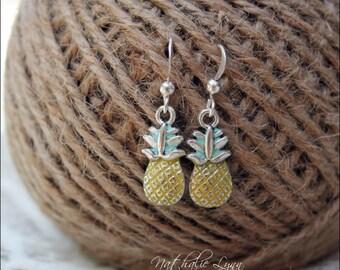 Pineapple Earrings, Pineapple Jewelry, Dangle Earrings, Fruit Earrings