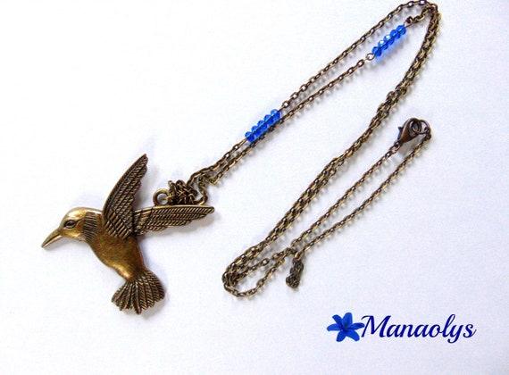 Bird, Hummingbird, bronze necklace, vintage, retro, glass beads blue 234