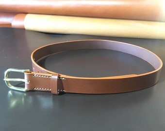 100% Handmade Sedgwick Bridle Leather Belt in Chestnut