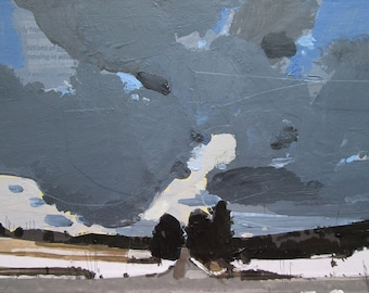 Gateway, Original Winter Landscape Collage Painting on Panel, Ready to Hang, Stooshinoff