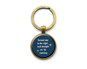 Second Star keychain-Peter Pan quote keychain-fairy tale keychain-Quote Keyring-peter party gift-Christmas gift-keyring-NATURA PICTA-NPK001