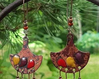 Enamel on copper - yellow, red, plum earrings