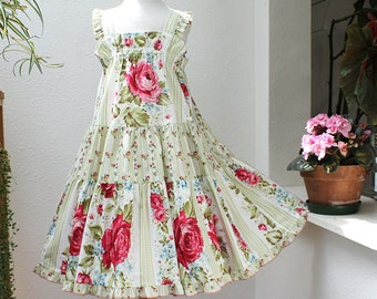 Red Rose Girls Dress Tiered Girls Twirl Dress Cotton Sundress Floral Toddler Dress Summer Trendy Toddler Girl Clothes 12 18 mo 2T 3T 4T 5 6