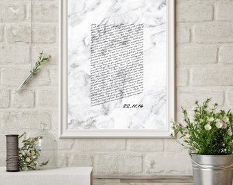 Wedding Vows Valentine's Day Gift Keepsake Print for Newlyweds & Anniversaries - Marble Script