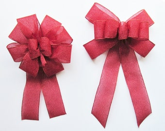 Sparkly Wired Bow - Red - Wired Bow - 9 or 10 Loops - Christmas - Red Bows - Valentine's Day - Party Decoration