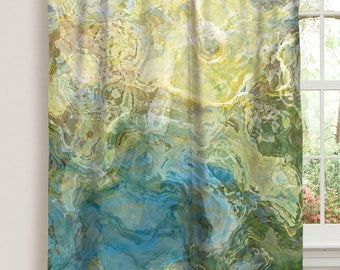 "Abstract art window curtain in turquoise and green, 50""x84"" blackout drapery panel, rod pocket curtain, living room decor, Wintercreek"