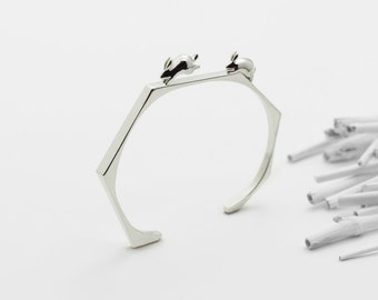 Chasing Rabbits Cuff Bracelet (Sterling Silver 3d Printed Jewelry)