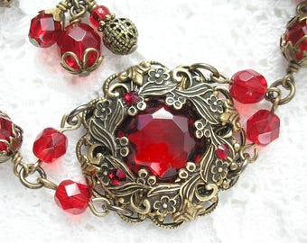Roses are Red- Ruby Red Glass Jewel Bracelet- Antiqued Brass Bracelet- Morning Glory Designs