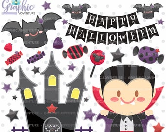 Halloween Clipart, Halloween Graphics, COMMERCIAL USE, Dracula Clipart, Vampire Clipart, Kawaii Clipart, Halloween Party, Clipart