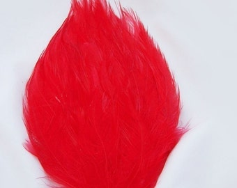 RED Feather Pad (rooster feather) Applique for millinery,mardi gras masks,costume hats,flapper feather fascinator,children headband
