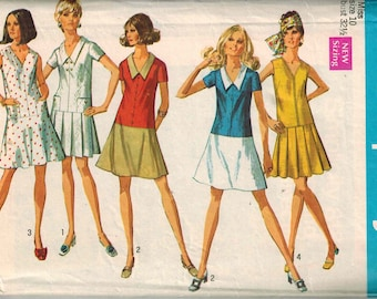 1969 Simplicity Retro Hippy Mini Dress Sewing Pattern Vintage 8188 Size 10 A-line or pleated skirt