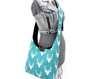 Deer Crossbody Shoulder Bag - Aqua Bag - Cross Body Purse - Hobo Shoulder Bag - Hobo Purse - Slouchy Hobo Bag - Crossbody Bag for Women