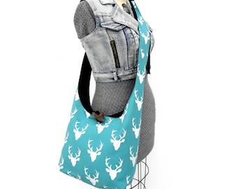 Hirsch Crossbody Schulter Tasche - Aqua - Kreuz Körper Geldbörse - Hobo-Umhängetasche - Hobo Handtasche - Slouchy Hobo Bag - Umhängetasche für Frauen