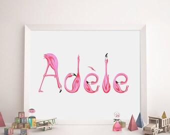 Prénom d'enfant en lettres de flamants roses, affiche personnalisée