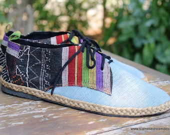 Women's Shoes Vegan Oxfords In Colorful Laos Tribal Embroidery & Natural Hemp - Alexa