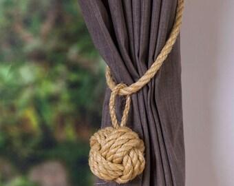 Large Monkey Fist Knot Natural Sisal Rope Curtain Tieback Cord rustic window shabby chic ties Hold backs boho rustic ties nautical decor