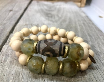 Boho green bracelet set