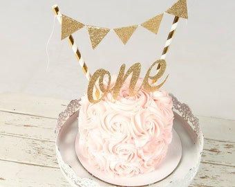 One Cake Topper, First birthday cake topper, ONE Smash Cake Set (Cake Topper and banner)