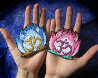 Lovely Peaceful Zen OM Lotus Flower Blue or Pink Iron on Patch