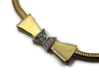 Bow Necklace - Vintage Trifari, Rhinestone