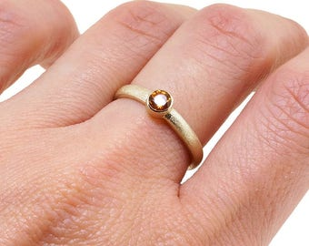 Solid Gold Ring - Citrine Ring - Stacking Ring - Birthstone Ring Gift for Mom - Gemstone Ring - Promise Ring for Her