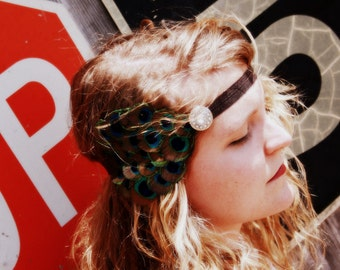 Peacock FEATHER FLAPPER HEADBAND Brown & Turquoise.... couture vintage, 1920 fashion