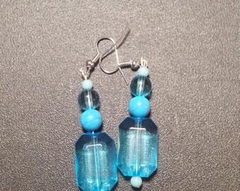 Brilliant Blue Crystal Dangle Earrings in Silver