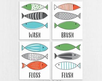CANVAS Fish Bathroom Wall Art - Fish Bathroom Decor - Brush Wash Floss Flush - Shared Bathroom Art - Modern Kids Bathroom