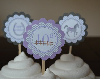Horse Theme Birthday Cupcake Toppers - Purple and Gray - Horse Party - Set of 12