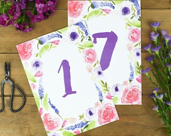Bright Floral Wedding Table Number Cards - Rustic Wedding Number Cards - Autumn Wedding Stationery - Table Number Cards - Wedding Numbers