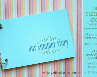 Our Summer Story Mini Album Kit . Mixed Media Documenting Notebook Daybook . 6x4 Trip Travel Memory Journal Album . Smash Mini Book