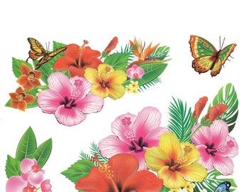 Hawaii Hibiscus Flowers Large Tattoo Sheet - 1 Pc