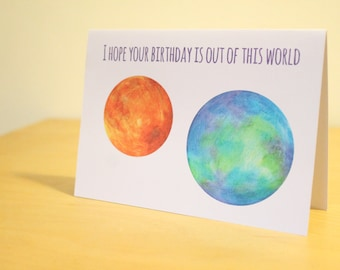 Space birthday card, planets birthday card, science, solar system, quirky card, A6