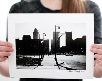 Sunny Philadelphia Streets and Skyline Photograph (9 x 6 inch Fine Art Print) Black & White City Photography