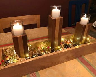 Christmas Candle Holder, Christmas Centerpiece, Thanksgiving Centerpiece. Great for any season.