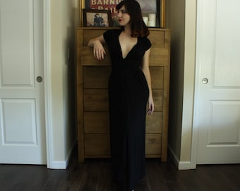 AS IS 1940's Floor Length Inky Black Evening Gown