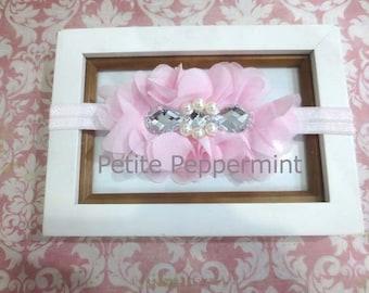 Pink Baby headband, newborn headband, girl headband, toddler headband, baby hair bow, baby head band flower