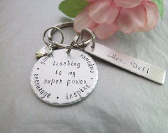 Teacher Key Chain - Hand Stamped Teacher Gift -  Personalized Key Chain - Key Tag - Personalized Hand Stamped Aluminum Key Chain