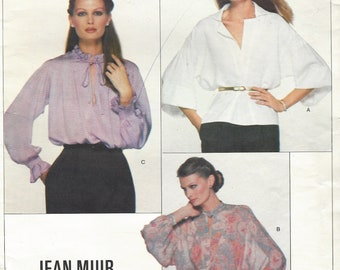 1970s Jean Muir Womens Set of Blouses, Romantic Ruffled Blouse, Batwing Sleeve & Dolman Sleeve Vogue Sewing Pattern 2109 Size 14 Bust 36 FF