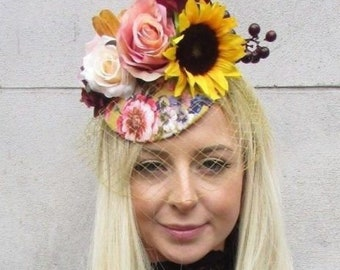 Mustard Yellow Red Floral Birdcage Veil Flower Hair Fascinator Hat Vintage 5742