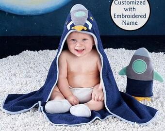 Spaceship Hooded Bath Towel, Baby Bath Towel, Terry Cloth Towel, Spaceship Hooded Towel, Baby shower gift, Baby Aspen Bath time gift set