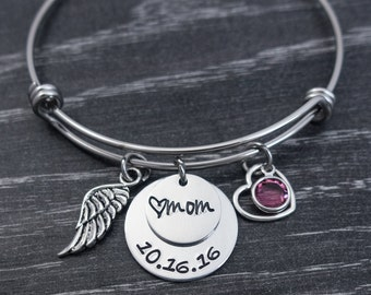 Charm Bracelet / Wire Bangle / In Loving Memory Bangle / Loss of mother / Mom / Remembrance Bracelet / Hand Stamped Wire Bangle Bracelet