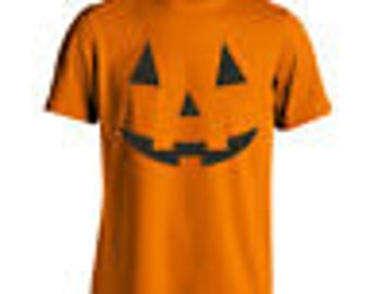 Adult Pumpkin Face Funny Humor Costume Orange Basic Men's T-Shirt