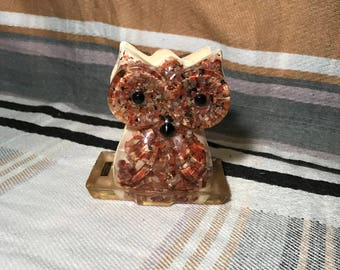 Retro lucite and petrified wood owl napkin holder